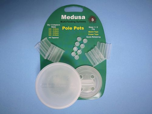 Medusa Pole Pots Sizes 1 & 2. Drip feeders perfect for maggott or pellets. Can be used as a cupping kit for pole fishing!